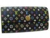 Louis Vuitton 激安 ルイヴィトン 新品 マルチカラー 財布 ファスナー付き長札 ポルトフォイユ・サラ ノワールxピスタッシュ M93748