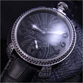 ガガ ミラノ 新作 5012 BKダイヤベゼル ブラック文字盤/ブラックINDEX 黒革 ga016