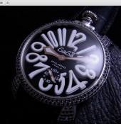 ガガ ミラノ 新作 5012 ブラックダイヤベゼル ブラック文字盤/ホワイトINDEX 黒革 ga011